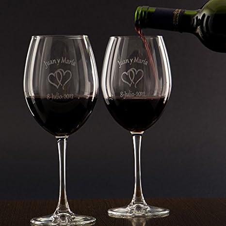 Regalo para Parejas Personalizable: Copas de Vino grabadas con los Nombres, Fechas o Mensajes Que tú Quieras y un Motivo a Elegir (Copas de Vino para ...
