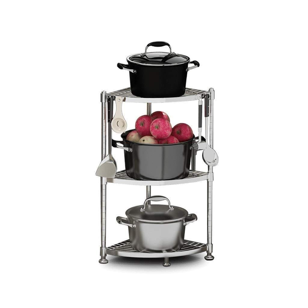 304ステンレス鋼キッチン電子レンジラックフロア多層ポットラック多機能家庭用オーブン収納 LJKHDF B07S1HVD3J