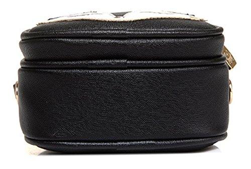 Longzibog Dual verstellbare Schultergurte und Hängeschlaufenband Mode Simple Style Fashion Tote Top Handle Schulter Umhängetasche Satchel Schwarz WRB7fOUH