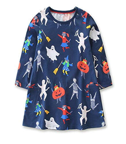 Girls Cotton Halloween Custome Aline Dress Casual Dresses Halloween Printed Dress Cotton Dress 4T