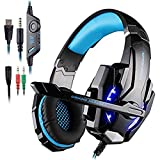 AFUNTA G9000 Stereo Gaming Headset for PS4, PC, Xbox One Controller, Noise Cancelling Over Ear Headphones with Mic, LED Light, Bass Surround, Soft Memory Earmuffs for Laptop Mac-Blue
