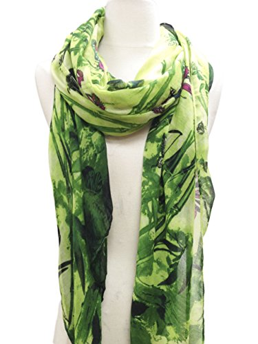 Women Abstract Cotton Scarf / Windowpane Cotton Scarf (1 Green)