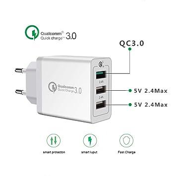 Cargador de pared Quick Charge 3.0, conector multipuerto de ...