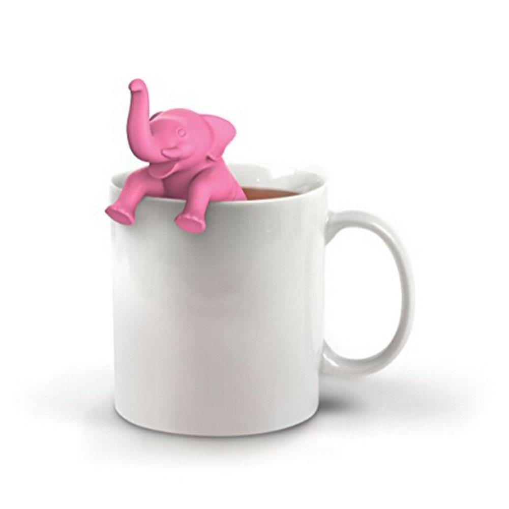 Gluckliy Cute Elephant Tea Strainers Silicone Loose Tea Leaf Strainer Herbal Filter Diffuser fangqiang