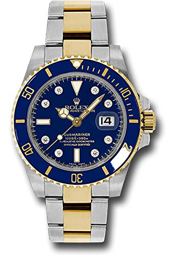 al 40MM Stainless Steel & 18K Yellow Gold Submariner Date With a Blue Cerachrom And Rotatable Bezel And a Blue Dial With Diamond Hour Markers. ()