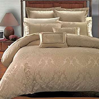 13-PC King Size Janet Royal Hotel Collection Bed in a Bag Including Duvet Cover Set+ Bed Skirt+Down Alterntaive Comforter+ Sheet Set 100% Cotton