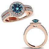 0.91 Carat Blue Diamond Lovely Beautiful Fancy Round Halo Couple Wedding Bridal Set Ring 14K Rose Gold