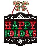 Black Chalkboard Wooden Happy Holidays Wall / Door / Window Sign w/Burlap Bow & Ribbon Hanger