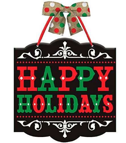 Happy Holidays Sign (Black Chalkboard Wooden Happy Holidays Wall / Door / Window Sign w/Burlap Bow & Ribbon Hanger)