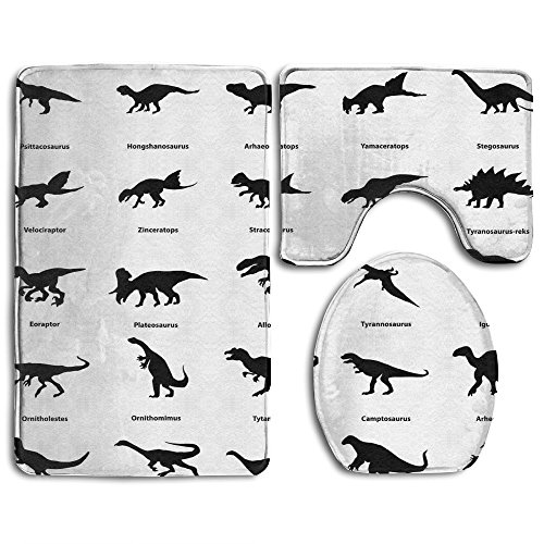 Guiping Collection Of Different Dinosaurs Silhouettes With Their Names Evolution Wildlife Bathroom Rug Mats Set 3 Piece Funny Bathroom Rugs Graphic Bathroom Sets Anti Skid Toilet Mat Set