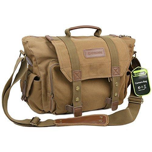 Evecase Large Canvas Messenger DSLR Camera Bag w/Rain Cover