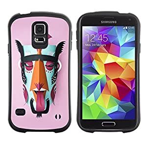 Hybrid Anti-Shock Bumper Case for Samsung Galaxy S5 / Mayan God Colorful Mask