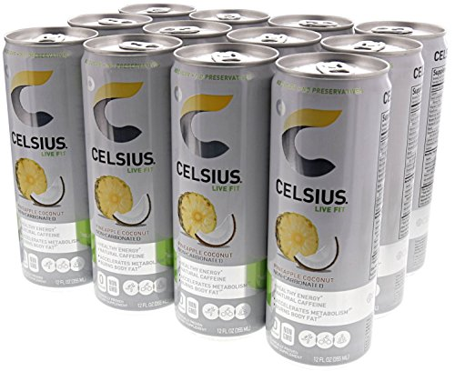 Celsius Live Fit Natural Fitness & Energy Drink 12/12oz Cans (Pineapple Coconut)
