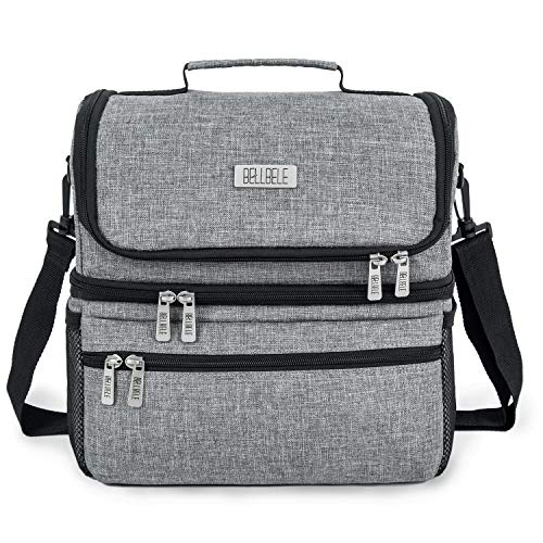 BELLBELE Large Insulated Lunch Box for Men Lunch Bag for Women 15L High Capacity Lunchbox for Adult Family Double Deck Cooler Toe Bag for Office School Picnic Travel or Camping (Gray)