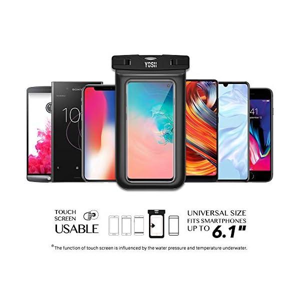 YOSH Funda Impermeable Móvil Universal 2 Unidades, IPX8 Certificado, Bolsa Sumergible para iPhone X 8 7 6s Samsung J5 J3 J7 S8 S9 Huawei P20 P10 P9 y Otros Móviles hasta 6.3 Pulgadas 3