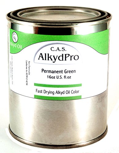 C.A.S. Paints AlkydPro Fast-Drying Oil Color Paint Can, 16-Ounce, Permanent Green ()