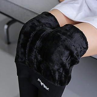 Leggings Inoltre Velluto Ispessito, Pantaloni Caldi, Passo Peluche a Vita Alta Elastico,Nero,Taglia Unica