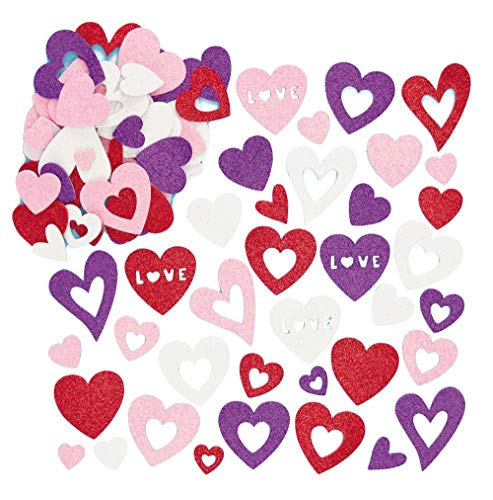 Baker Ross Heart Glitter Foam Stickers (Pack of 120) Self-Adhesive Shapes for Kids in Craft Embellishments, Decorating & Card Making