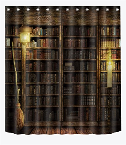 LB Witch's Wood Cabin Magic Book Shelf Flying Broom Shower Curtains for Bathroom, Magic Halloween Night Decor, 70 x 70 Inches Shower Curtain Set Waterproof ()