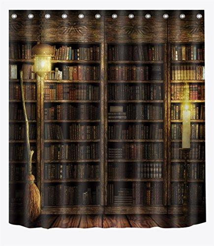 LB Witch's Wood Cabin Magic Book Shelf Flying Broom Shower Curtains for Bathroom, Magic Halloween Night Decor, 70