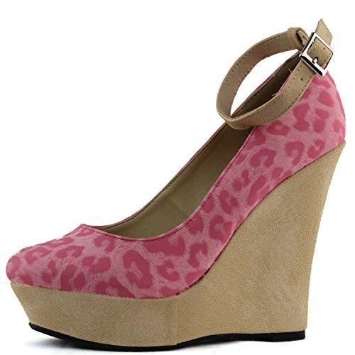Vrouwen Enkelbandje Wig Mary Jane Hoge Hak Ronde Neus Dierenprint Luipaard Pomp Mode Schoenen Roze Pu