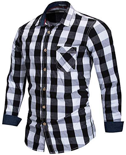 Men's 100% Cotton Regular-Fit Long-Sleeve Button-Down Buffalo Plaid Shirt with Pocket, Black/White, US XL, EUR 3XL