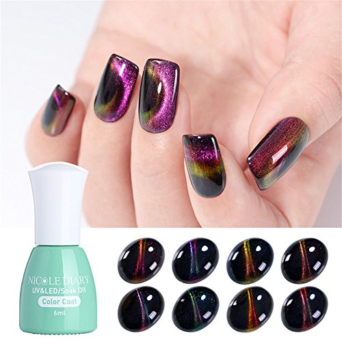 NICOLE DIARY 8 Bottles Holographic Magnetic Cat Eye Gel Nail