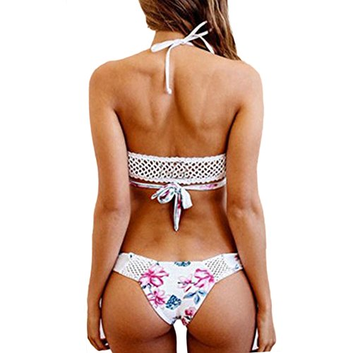 GGTFA Mujeres Adolescentes Niñas Impresión Floral Hueco Elegante Bikini Trajes De Baño Swimwear Blanco Blanco