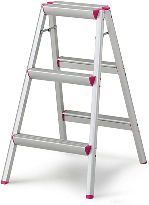 QQXX Escalera Plegable de aleación de Aluminio para Uso doméstico, Antideslizante, Duradera, Blanca, Escalera de Tres escalones, de Doble Uso: Amazon.es: Hogar