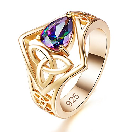 (Emsione Created Rainbow Topaz 925 Sterling Silver Plated Knot Ring for Women)