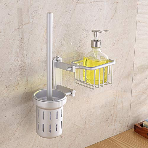 Space Aluminum Toilet Brush Set Wall Mounted with Toilet Brush Holder Bathroom