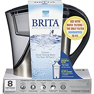 Brita Medium 8 Cup Stainless Steel Water Pitcher with Filter - BPA Free