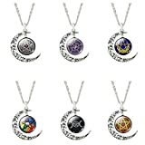 Best Necklaces 6 Pieces - Chic Pentacle Choker Necklace Glass Crystal Pendants Silver Review