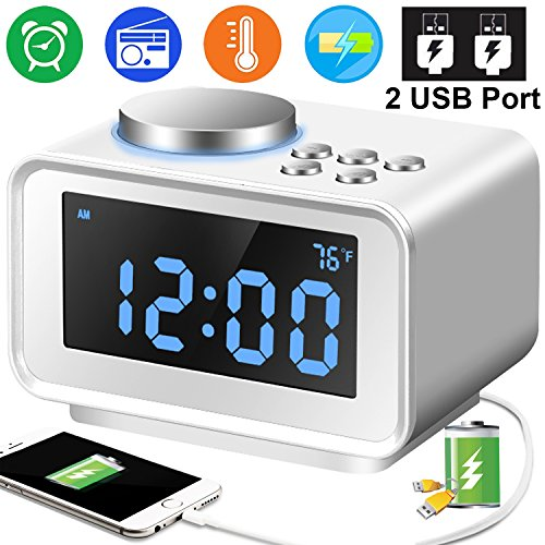 radio for office. Duperym Radio Alarm Clock Digital FM Clocks With 2 USB Phone Charging  Port For IPhone Radio Office A