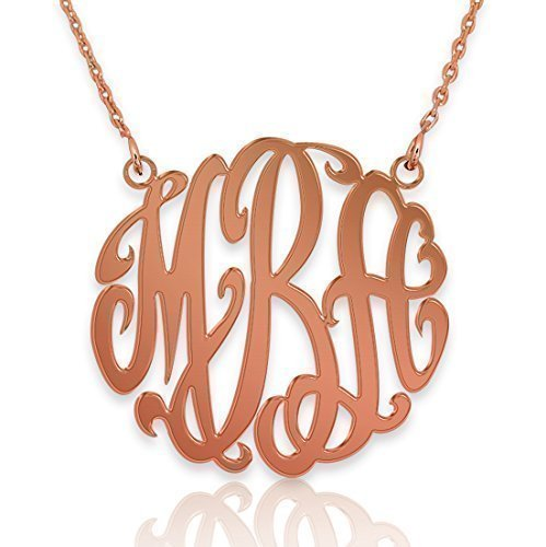 3e909ac21 Amazon.com: 18k Rose Gold Plated Monogram Necklace, Personalized Statement Monogram  Necklace, Script Initials Necklace, Monogrammed Letters: Handmade