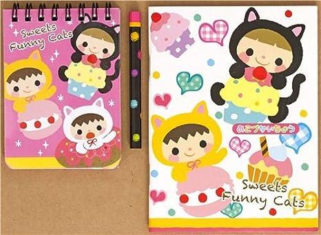 Set papelería gatos y dulces con libreta y cuaderno cuentas: Amazon.es: Juguetes y juegos