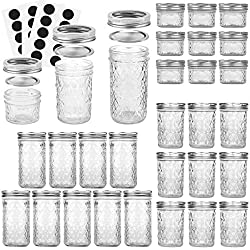 Canning Jars, VERONES Quilted Crystal Mason Jelly Jars with Lids and Bands, Ideal for Canning, Storing, Home Decor, 4 OZ x 10, 8 OZ x 10, 12 OZ x 10, 30 Chalkboard Labels Include