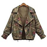 YINHAN Women's Rose Printed Batwing Sleeve Camouflage Jacket