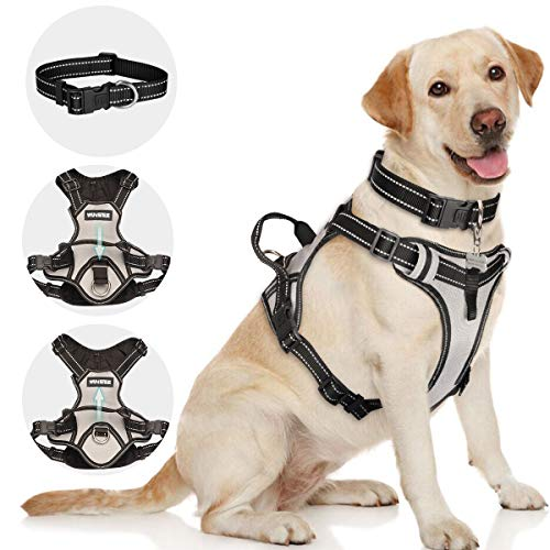 Classic Dog Harness - WINSEE Dog Harness No Pull with Dog Collar, Adjustable Outdoor Pet Vest Harnesses for Large Big Medium Dogs, Reflective Oxford Material Soft Dog Leash, Easy Control for Walking, Training, Silver