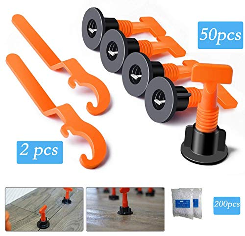 Premium Tile Leveling System Kit with 50pcs Tile Leveler Spacers, 2 Special Wrenches, 200pcs Tile Spacers, Reusable Tile Installation Tool Kit for Construction, Like Building Walls & Floors. (Tiles Floor Like)