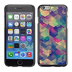 Caucho caso de Shell duro de la cubierta de accesorios de protección BY RAYDREAMMM - Apple iPhone 6 Plus 5.5 - Teal Beige Purple Pattern Calm