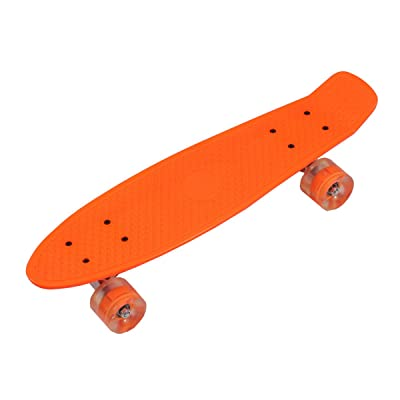 'rollingbull 27 Plastic Cruiser Skateboard avec roulettes LED orange