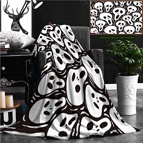 Nalagoo Unique Custom Flannel Blankets Scary Seamless Wallpaper Super Soft Blanketry for Bed Couch, Throw Blanket 60