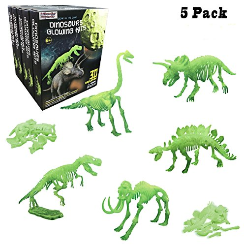 Liberty Imports [5-Pack] Glow in the Dark Dinosaur Skeleton Puzzles, 10-Inch Archaeology Kit For kids (Assorted 5 Styles)