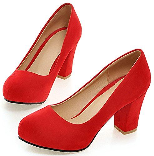 Idifu Femmes En Daim Chunky Talons Hauts Bout Rond Slip Sur Les Chaussures À Coupe Basse Chaussures Rouge