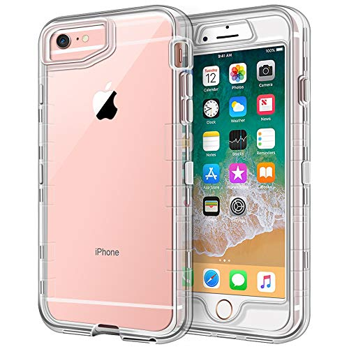 (iPhone 6S Case, iPhone 6 Case, Anuck Crystal Clear 3 in 1 Heavy Duty Defender Case Shockproof Full-Body Protective Case Hard PC Shell & Soft TPU Bumper Cover for Apple iPhone 6 /iPhone 6S 4.7