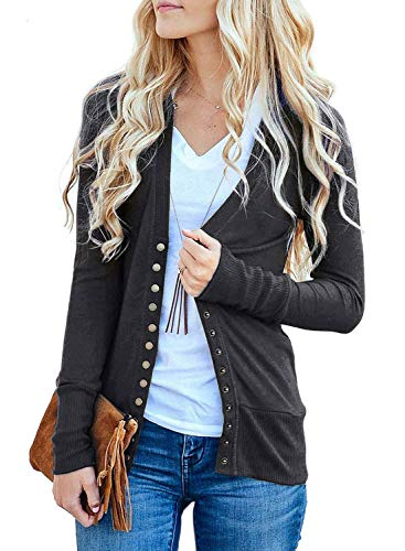b0dbe42ca339eb Sidefeel Women V-Neck Snap Button Down Long Sleeve Basic Knit Cardigan  Sweater Large Grey