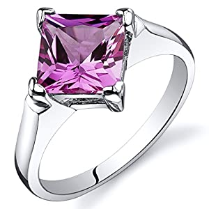 Created Pink Sapphire Engagement Ring Sterling Silver Rhodium Nickel Finish 2.25 Carats Sizes 5 to 9