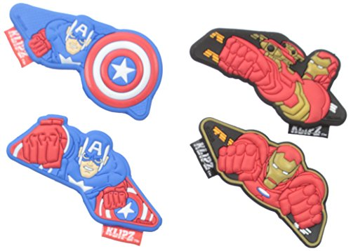 Klipz Iron Man and Captain America 2 Pack Shoe Accessory (Little Kid), Multi, One Size ()