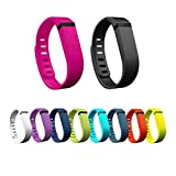 Ecandy 10pcs Large/Small Replacement Exercise Bands with Clasps /No tracker/ Wireless Activity Bracelet Sport Wristband for Fit Bit Flex Bracelet Sport Arm Band (Small 10pcs)